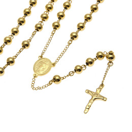 Wholesale Stainless Necklace 8mm - NEW Catholic Goddess Virgen de Guadalupe 8mm beads 18K Gold Plated Rosary Necklace Jewelry Jesus Crucifix Cross Pendant