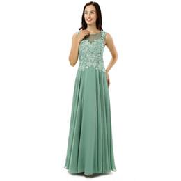 2017 Nuevo Personalizado Elegante Mujeres Verde Gasa Madre de la Novia Vestidos Parte Vestidos de la Madre Lace Back Ilusión Moeder Van De Bruid desde fabricantes