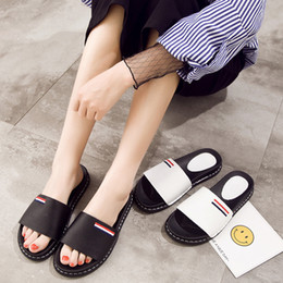 Wholesale Leather Platform Slide - Women Slippers 2017 Summer New Black White Genuine Leather Woman Shoes Fashion All Match Open Toe Platform Flat Slides Outdoor Drop Shipping