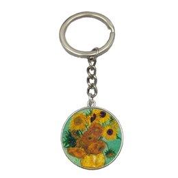 Wholesale Vincent Wholesale - Wholesale Vintage Jewelry 2017 Hot Selling Newest Vincent Van Gogh Keychain Art Glass Cabochon Dome Key Chain Women Gift NS175