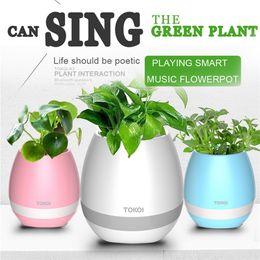 Wholesale Plant Sensor - Bluetooth Music Flowerpot Smart Mini Flower Pot Plastic Sensor Colorful Light Plant Pots Table Decoration OOA1886