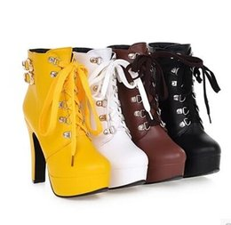 Wholesale New Korean Winter Snow Boots - 2016 autumn and winter new high-heeled shoes boots with Korean version thick with waterproof boots British Martin boots