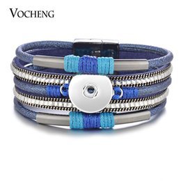 Wholesale Crystal Charms For Bracelets - VOCHENG NOOSA Ginger Snap Leather Bracelet Magnetic Bangle for Women Bling with Crystal 18mm Button 2 Colors NN-605