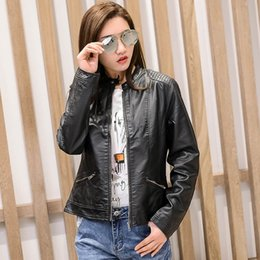 Wholesale Slim Jacket For Female - Leather Jackets for Women Female Slim Motorcycle PU Leather Outwear Jacket PU Jackets