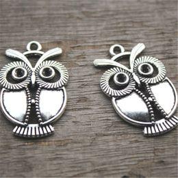 Wholesale Antique Owl Charms - 12pcs--Owl Charms,Antique Tibetan silver owls Charms Pendants,owl connectors 34x22mm