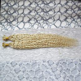 Wholesale U Tip Blonde Curly Extensions - Blonde brazilian hair u tip hair extensions human 100g 1g strand kinky curly Pre Bonded Hair Extensions