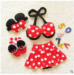 Wholesale Girl S Minnie - Kids Clothing Girls Swimwear Mickey Minnie Cartoon Baby Swimsuit Top Skirt hairband Bathing Suit Bikini with Hairband DHL Free Shipping
