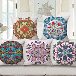 Tecido de linho com estampado floral on-line-decoração boêmia elegante impressa capa de almofada étnica escandinavo mandala floral cojines 45 cm tecido de linho de algodão