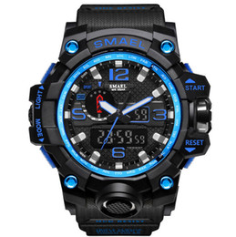 Wholesale Color Led Watches Display - SMAEL 2017 Brand Men Casual Sport Watch Dual Display Analog Digital LED Electronic Quartz-Watches Male Waterproof Swimming Wristwatches