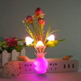 Wholesale Small Mushroom Light - New Gift Small Wall Lamp Wide Voltage 100VAC-240VAC Slow Change Light Colorful Tulips Mushroom Lights Light Control Induction Night Light