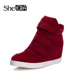 Wholesale Red Platform Wedge Boots - Wholesale-HOT New 2015 Brand Autumn Women Winter Shoes Leopard Suede Ankle Boots Heels Platform Wedge 9 colors Height Increasing