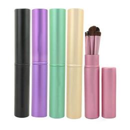 Wholesale Mini 5pcs Makeup Brush Set - Portable Mini 5pcs Eye Makeup Brushes Set Eyeshadow Eyeliner Tool Kit With Round Tube For Women Travel Make Up Brush