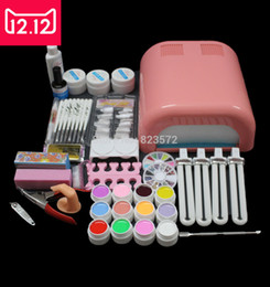 Wholesale Coloured Uv Gels For Nails - Wholesale- EM-92 Hot Sale nails gel Professional 36w Curing UV Dryer Lamp 12 Colours Nail Art Manicure Tools Kit For Beauty Nails