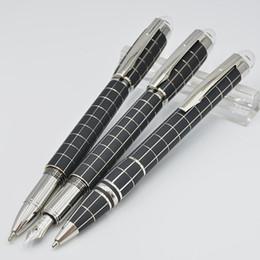 2019 teste di fontana Penna a sfera in metallo di alta qualità nero checker / penna a sfera / penna stilografica con penne a inchiostro di lusso di cancelleria per ufficio con testa di cristallo teste di fontana economici