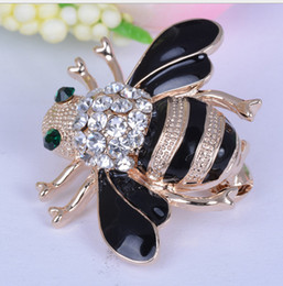 Wholesale Rhinestone Bee Brooch - Honey Bee intersect Brooches Enamel Esmalte Broches Gold Plated Champagne Rhinestone Hijab Pins juego de tronos XZ19