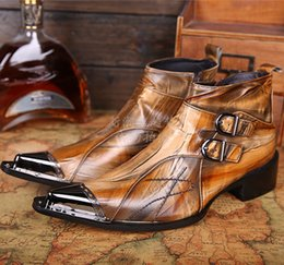 Wholesale Autumn Coffee - Pointed Toe Coffee Yellow Men Ankle Boots High Top Autumn Winter Business Men Dress Shoes Wedding Oxfords Genuine Leather Motorcycle Boots