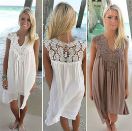 Wholesale Womens White Boho Dresses - Boho Womens Lace Embroidery Summer Loose Casual Beach Mini Swing Dress one piece playsuits Chiffon Lace Dresses Womens Clothing Sun Dress