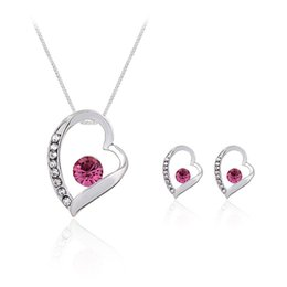 Wholesale Indian Silver Earings - 3 TYPE Crystal Heart Love Necklace Earings Jewelry Sets Hollow Silver Heart Studs Earrings for Women Bride Bridesmaid Wedding Jewelry 162188