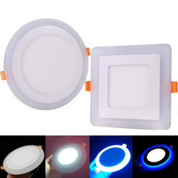 Wholesale Double Ceiling Led - 3 Model Round Square blue white double color Led Panel Light 6w 9w 16w 24W AC85-265V Recessed LED Ceiling downlight down lights