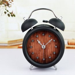 Wholesale Mute Clock Vintage - Wholesale-Vintage Nostalgia Retro Dot Alarm Clock Retro Metal Doubl Bell Table Clock Creative Personlity Mute Movement Desk Clock