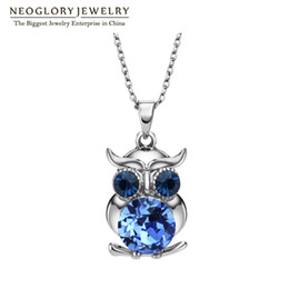 Wholesale Neoglory Wedding - 2017 Neoglory Blue Austrian Crystals Owl Maxi Boho Long Chokers Necklaces & Pendants for Women Mother Girl Gifts Fashion Jewelry 2017 for