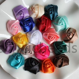 Wholesale Rosette Pink White - 23mm Satin Rolled Artificial Silk Rose Flower Fabric Rosettes Headdress Floral Decoration Flowers Headmade Scrapbooking Accessories