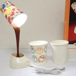 Wholesale Lighted Art Table - Home DIY Coffee Cup LED Down Night Lamp Home USB Battery Pouring Coffee Table Light for Study Room Bedroom Decoration