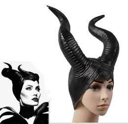Wholesale Latex Horns - Wholesale-2016 trendy Genuine latex maleficent horns adult women halloween party costume jolie cosplay headpiece hat -Free shipping