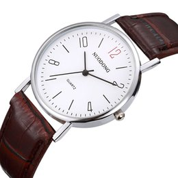 Wholesale Red Dial Vintage Watch - 2017 new simple fashion mens red number leather watch silver+rose gold dial retro vintage ancient business quartz sport watches