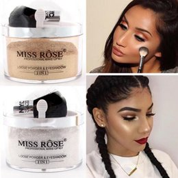 Wholesale Miss Rose Palette - Brand Miss Rose 2 in 1 Highlighter Eye Loose Powder Glitter Makeup Contour Palette Make Up Face Powder Glitter Gold Eyeshadow