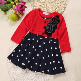 Wholesale Child Boys Dresses - Wholesale- QZ-374,2017 Spring Baby Girls Long-sleeved Dress Flower Children girls Clothing In Polka Dot red pink Dress kids girls clothes