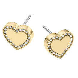 Wholesale Women Earrings Free Shipping - New York Fashion Brand Tone Love heart Stud Earrings High Quality Crystal Silver Rose Gold colors fine jewelry For Women girls Free Shipping
