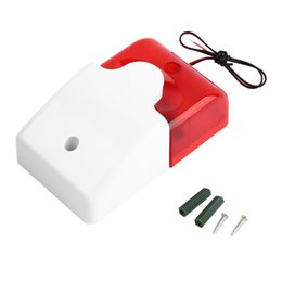 Wholesale Home Alarm Wired - 1Sets Mini Wired Strobe Siren Durable 12V Sound Alarm Strobe Flashing Red Light Sound Siren Home Security Alarm System 115dB