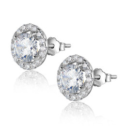 Wholesale Ct Earrings - 1.6 Ct Halo Setting Round CZ 925 Sterling Silver Stud Earrings For Women Newshe Jewellery JE1580