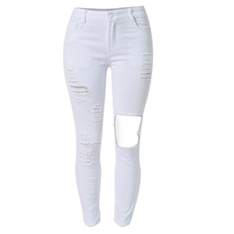 Wholesale Jean Hollow - Wholesale- 2016 White Jeans Casual Skinny Women Boyfriend Jeans Hollow Out Slim Fit Denim Hole Jean Euro Apparel Destroyed Jeans Lady S1523