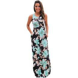 155c1a0535e Vintage Floral Print Boho Long Dress Women O Neck Sleeveless Loose Tank  Maxi Dresses Casual Summer Beach Dress Elegant Vestidos