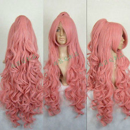 Wholesale Wig Vocaloid Curly - Free shipping Quality Fashion Picture full lace High wigs>VOCALOID COSPLAY Party Dark Pink Long Wig+Curly Clip On Ponytail