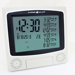 Wholesale Azan Alarm Clock - Wholesale-2pcs lot cheaper athan prayer clock Islamic azan clockAutomatic Azan wall prayer clock with stand Fajr alarm.1150 cities Muslim