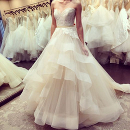 Wholesale Wedding Gowns Online China - Champagne Wedding Dresses Cheap 2017 Custom Made Robe De Mariee Sweetheart Bridal Gowns Free Shipping Shop Online China