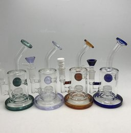 Wholesale Mini Ceramic Bowls - Glass Bongs Water Pipes Bong Glass Mini thick colored small honeycomb perc smoking pipe with bowl ceramic nail Oil Rigs Dab Rig