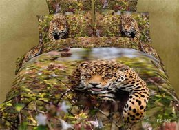 Wholesale King Size Leopard Print Sheets - Luxury queen size 3d leopard hunting bed set bedding set bedclothes Animal Lion tiger printed duvet cover bedspread sheet B2667