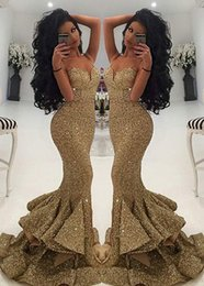 Wholesale Evening Eyes - Eye-catching Gold Sequins Mermaid Evening Dresses 2017 Spaghetti Straps Evening Gowns with Zipper Back Fittted Formal Dresses Evening Wear