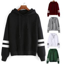 Wholesale Womens Long Red Coat - Womens Long Sleeve Hoodie Striped Sweatshirt Jumper Hooded Pullover Tops Blouse Coat Woman Sports Pullover Jumper Outerwear OOA3189