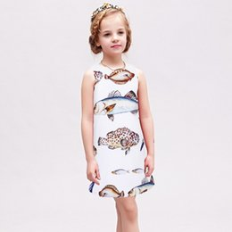 Wholesale Summer Clothes For Children - Girl Summer Dress Fish Printed Casual Wedding Party Dress For Girls A-line Dress Clothing Children Clothing