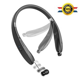 Wholesale retractable bluetooth - Newest Design Wireless Bluetooth 4.1 Headset Retractable and Foldable Neckband Style Headphones BT 19 for iPhone Android Smart Phones SX 991