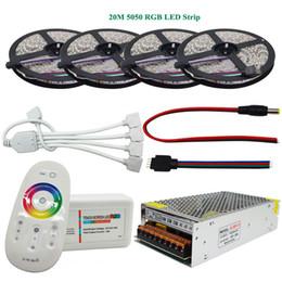 15 светодиодных индикаторов онлайн-DC12V SMD 5050 RGB светодиодные полосы 60led / м светодиодные гибкие ленты 5 М 10 м 15 м 20 м + РФ сенсорный пульт дистанционного управления + адаптер питания