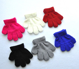Wholesale Kids Cotton Finger Gloves - 24pairs lot 10cm children winter warm mittens five gloves girl boy kids multicolor pure knitted finger glove