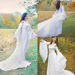 Wholesale Medieval Fantasy Dresses - 2017 Fantasy Fairy Medieval Wedding Gowns Lace Up Custom Made Off the Shoulder Long Sleeves Court Train Full Lace Bridal Gowns High Quality