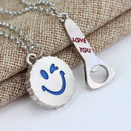 "Wholesale wholesale letter openers - Wholesale New Fashion Lover Necklace Letter ""LOVE YOU"" On Bottler Opener And Smiling Face Bottle Cap Pair Pendant Necklaces"