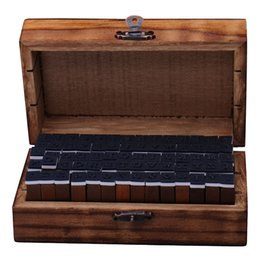 Wholesale Alphabet Stamp Wood Box - Wholesale-30pcs Set DIY Letter Wooden Stamps AlPhabet Stamps Wooden Box Personalized Motto Handmade Hobby Sets LW314